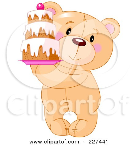 Royalty-Free (RF) Clipart Illustration of a Cute Teddy Bear Holding A Tiered Cake by Pushkin