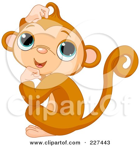 Royalty-Free (RF) Clipart Illustration of a Cute Baby Monkey Scratching His Head by Pushkin