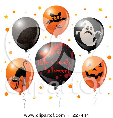 Royalty-Free (RF) Clipart Illustration of a Digital Collage Of Red And Black Halloween Balloons With A Have A Spooky Halloween Greeting by Pushkin