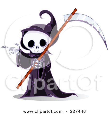 Royalty-Free (RF) Clipart Illustration of a Grim Reaper Skeleton Carrying A Scythe And Pointing by Pushkin
