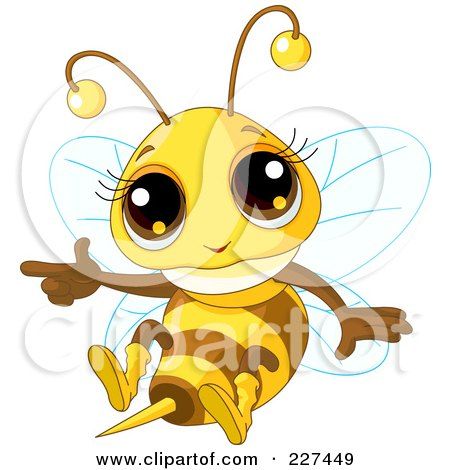 Royalty-Free (RF) Clipart Illustration of a Cute Baby Bee Flying And Pointing by Pushkin