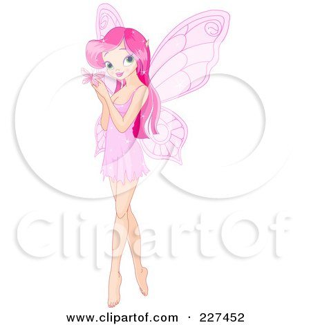 Royalty-Free (RF) Clipart Illustration of a Pretty Pink Haired Fairy Holding A Butterfly by Pushkin