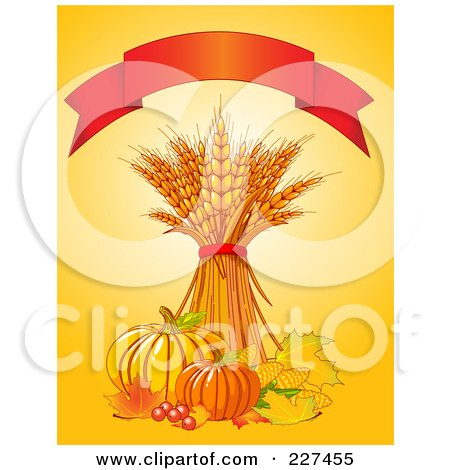 Royalty-Free (RF) Clipart Illustration of an Autumn Background Of Wheat, Leaves, Berries, Corn And Pumpkins On Yellow Under A Red Banner by Pushkin
