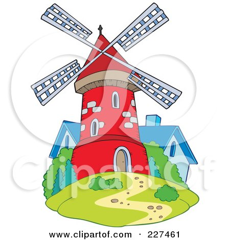 Royalty-Free (RF) Clipart Illustration of a Cute Red Windmill By A Blue House by visekart