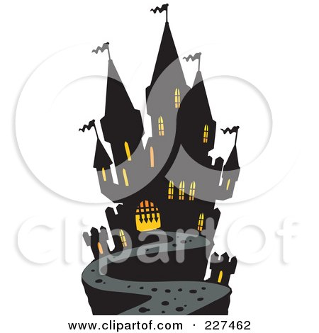 Royalty-Free (RF) Clipart Illustration of a Path Leading To A Haunted Mansion by visekart