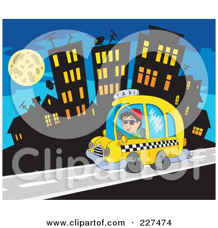 Royalty-Free (RF) Clipart Illustration of a Cab Driver Driving Past A City At Night by visekart