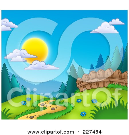 Royalty-Free (RF) Clipart Illustration of a Path Leading Through A Meadow At The Edge Of A Forest by visekart