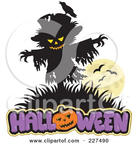 Royalty-Free (RF) Clipart Illustration of a Scarecrow Over Halloween Text by visekart