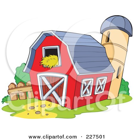 Clipart Red Barn With Hay In The Loft A Silo And Windmill ...