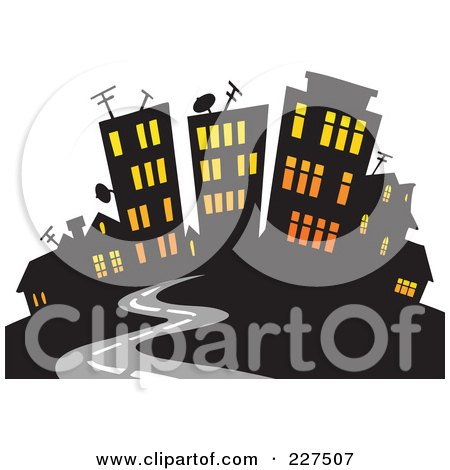 Royalty-Free (RF) Clipart Illustration of a Road Leading To A City With Lights Shining Through The Windows by visekart