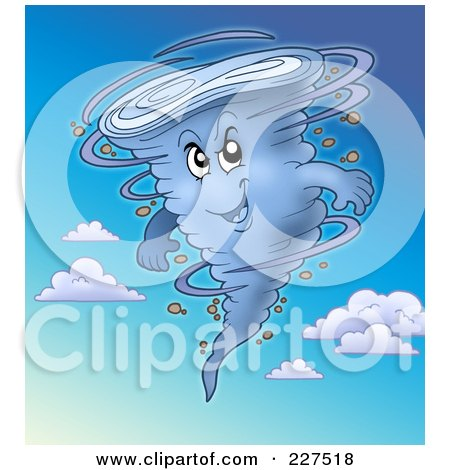 Royalty-Free (RF) Clipart Illustration of a Strong Tornado In A Blue Cloudy Sky by visekart