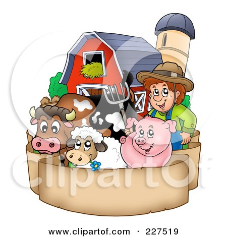 Royalty-Free (RF) Clipart Illustration of a Farmer By His Livestock, Barn And Silo Over A Blank Parchment Banner by visekart