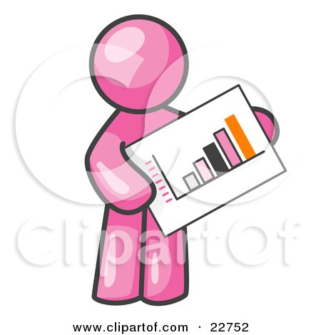 Clipart Illustration of a Pink Man Holding A Bar Graph Displaying An Increase In Profit by Leo Blanchette