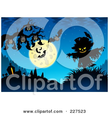 Royalty-Free (RF) Clipart Illustration of Bats Hanging From A Tree Branch Over A Scarecrow On Blue by visekart