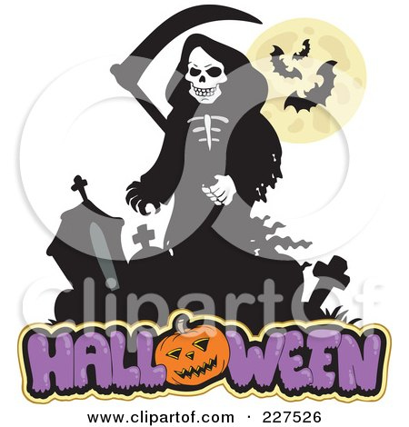 Royalty-Free (RF) Clipart Illustration of a Grim Reaper Over Halloween Text by visekart