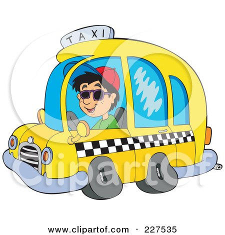 Royalty-Free (RF) Clipart Illustration of a Young Man Driving A Taxi Cab by visekart