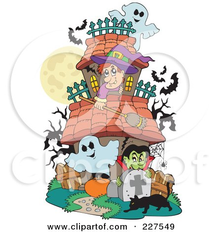 Royalty-Free (RF) Clipart Illustration of a Haunted House With Ghosts, A Witch, Vampire, Black Cat And Bats by visekart