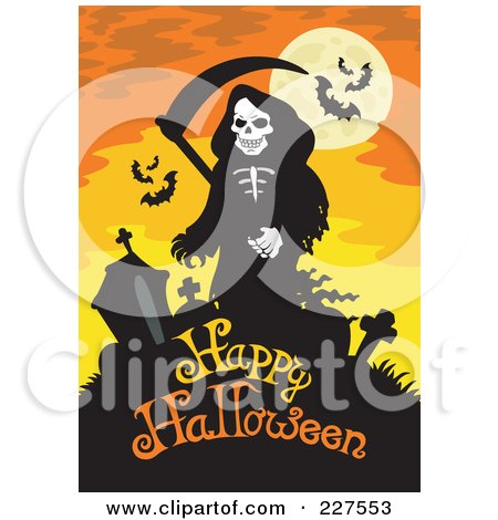 Royalty-Free (RF) Clipart Illustration of a Grim Reaper And Headstones Over Happy Halloween Text On Orange by visekart