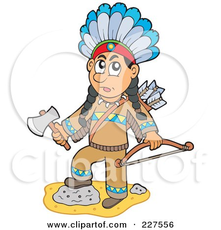 Royalty-Free (RF) Clipart Illustration of a Native American Man Holding A Hatchet And Bow by visekart