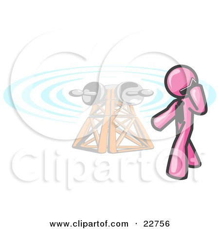 Clipart Illustration of a Pink Businessman Talking on a Cell Phone, a Communications Tower in the Background by Leo Blanchette