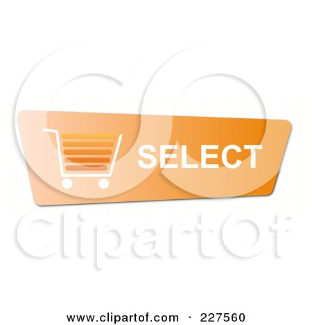 Royalty-Free (RF) Clipart Illustration of a Select Orange Shopping Cart Button by oboy