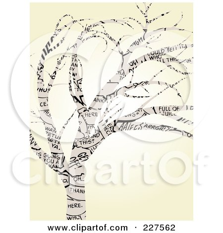Royalty-Free (RF) Clipart Illustration of a Tree Made Of Comic Words Over Beige by mheld