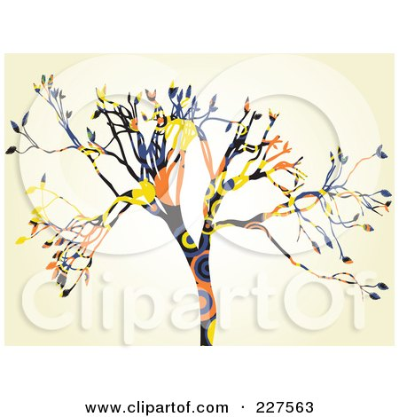 Royalty-Free (RF) Clipart Illustration of a Colorful Circle Pattern Tree Over Beige by mheld