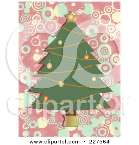 Royalty-Free (RF) Clipart Illustration of a Christmas Tree With Ornaments And A Star Over A Pink And Blue Circle Background by mheld