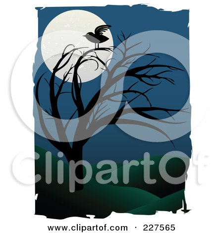 Royalty-Free (RF) Clipart Illustration of a Raven On A Bare Tree Against A Full Moon In A Hilly Landscape, Bordered With White Grunge by mheld