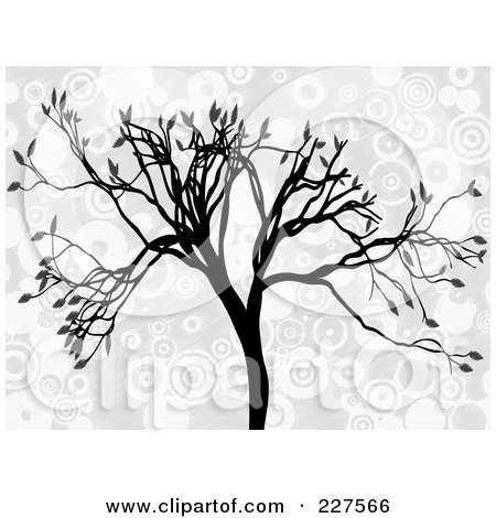 Royalty-Free (RF) Clipart Illustration of a Silhouetted Tree With Gray Leaves Over Gray And White Circles by mheld