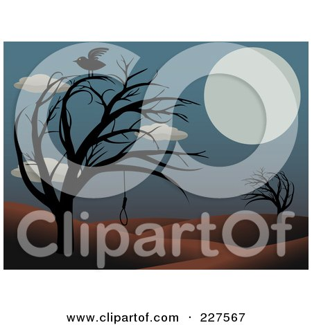 Royalty-Free (RF) Clipart Illustration of a Raven On A Bare Tree With A Noose In A Hilly Landscape With A Full Moon by mheld