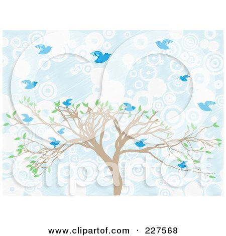 Royalty-Free (RF) Clipart Illustration of a Tree With Blue Birds Over Blue And White Circles by mheld
