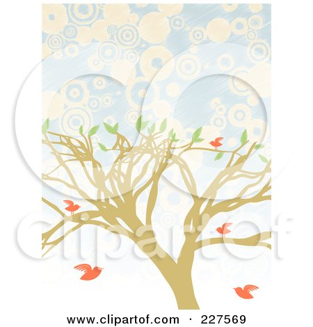 Royalty-Free (RF) Clipart Illustration of a Tree With Pink Birds Over Blue And White Circles by mheld