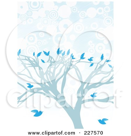 Royalty-Free (RF) Clipart Illustration of a Blue Tree With Blue Birds Over Blue And White Circles by mheld