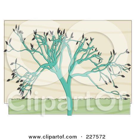 Royalty-Free (RF) Clipart Illustration of a Turquoise Tree With Gray Leaves Over Beige by mheld