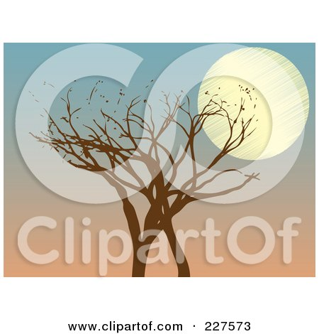 Royalty-Free (RF) Clipart Illustration of a Brown Tree With A Full Moon Against A Dusk Sky by mheld