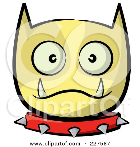 Royalty-Free (RF) Clipart Illustration of a Yellow Dog Face With A Spiked Collar by stephjs