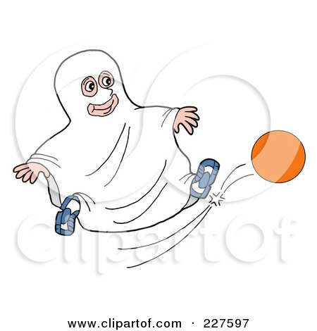 Clipart Of A Cartoon Happy Red Haired White Boy Playing