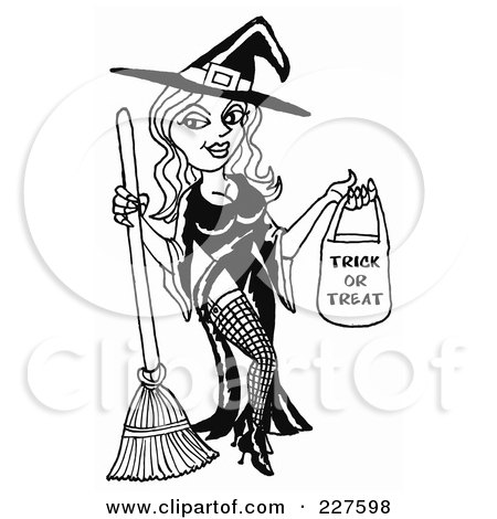 Royalty-Free (RF) Clipart Illustration of a Sexy Black And White Halloween Witch Holding A Trick Or Treat Bag by LaffToon