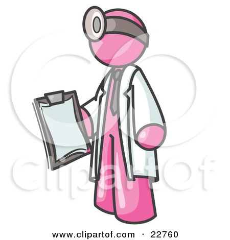 Pink Male Doctor Holding a Clipboard And Wearing a Head Lamp Posters, Art Prints