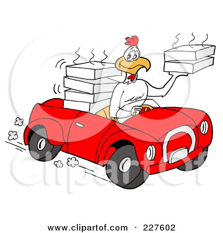 Royalty-Free (RF) Clipart Illustration of a Rooster Chicken Driving A Convertible Car And Delivering Food by LaffToon
