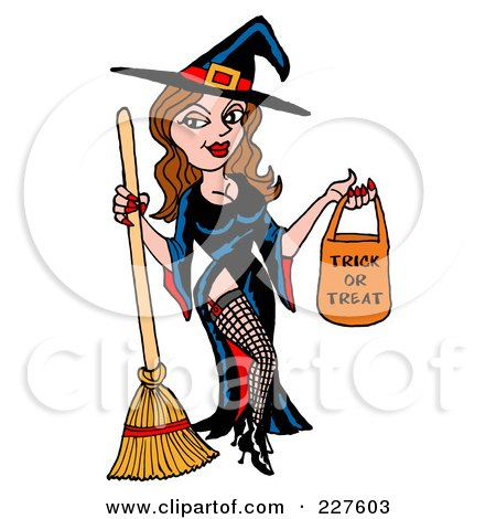 Royalty-Free (RF) Clipart Illustration of a Sexy Halloween Witch Holding A Trick Or Treat Bag by LaffToon
