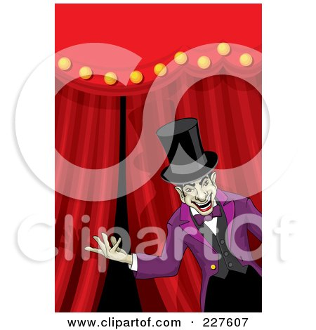 Royalty-Free (RF) Clipart Illustration of a Creepy Ringmaster Presenting In Front Of Curtains by David Rey