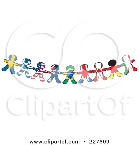 Royalty-Free (RF) Clipart Illustration of a Border Of International Flag Paper Doll Flags by Maria Bell