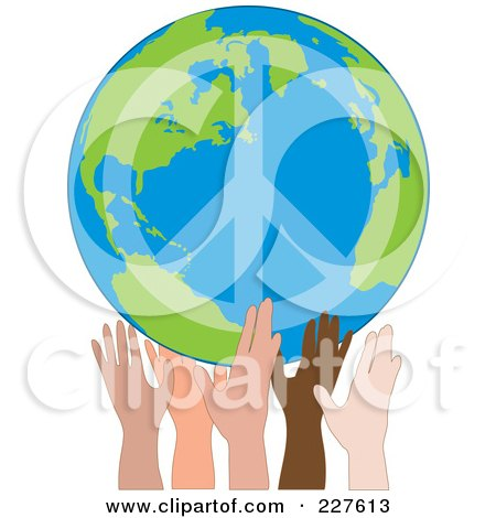 Peaceful World Drawings Holding up a Peace Earth