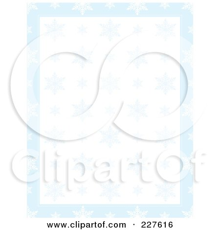 Royalty-Free (RF) Clipart Illustration of a Background Of Blue Snowflakes Over White With A Border Of Blue by Maria Bell