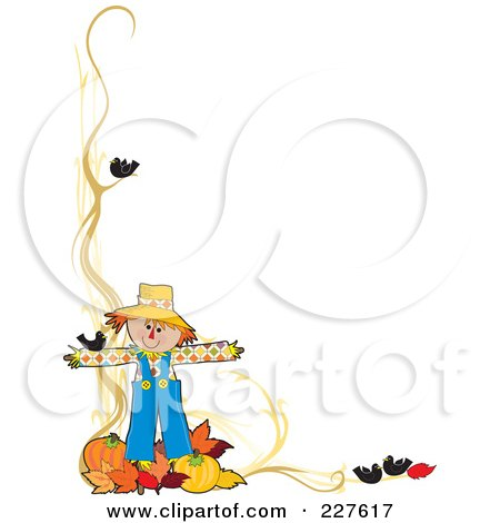 Royalty-Free (RF) Clipart Illustration of a Festive Autumn Border Of A Scarecrow With Leaves And Pumpkins by Maria Bell