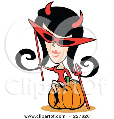 Royalty-Free (RF) Clipart Illustration of a Retro Woman In A Devil Costume, Sitting On A Halloween Pumpkin by Andy Nortnik