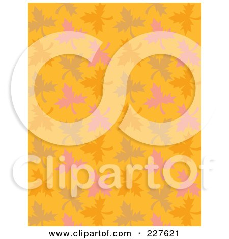 Royalty-Free (RF) Clipart Illustration of a Background Pattern Of Autumn Leaves On Orange by Andy Nortnik
