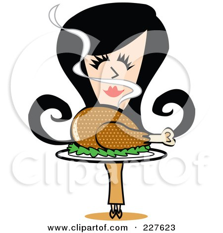 Royalty-Free (RF) Clipart Illustration of a Retro Woman Smelling And Carrying A Roasted Thanksgiving Turkey by Andy Nortnik